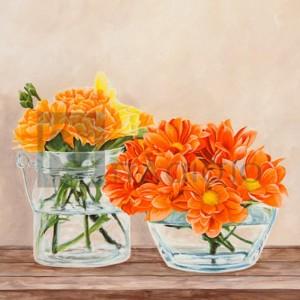 Remy Dellal - Fleurs et Vases Jaune II
