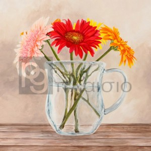 Remy Dellal - Fleurs et Vases Jaune I