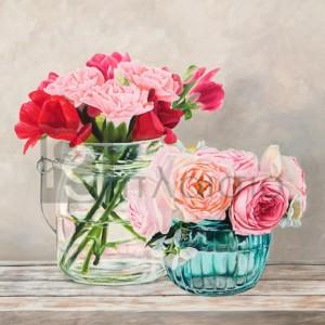 Remy Dellal - Fleurs et Vases Blanc I