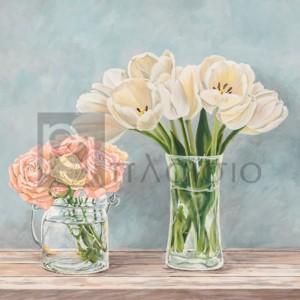 Remy Dellal - Fleurs et Vases Aquamarine I