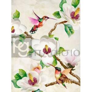Terry Wang - Magnolia and Humming Birds
