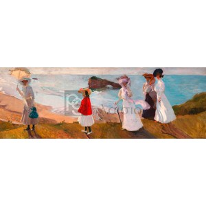 JOAQUÍN SOROLLA Y BASTIDA - Lighthouse Walk at Biarritz