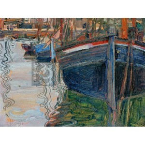 Egon Schiele - Boats mirrored in the Water