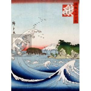 Katsushika Hokusai - Mont Fuji derrière la mer agitée