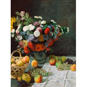 Claude Monet - Still life with flowers and fruit