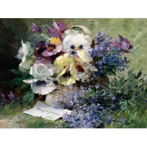 Albert-Tibulle Furcy De Lavault - Pansies and Forget Me Not