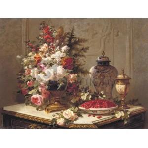 Jean-Baptiste Robie - Floral composition on a table (detail)