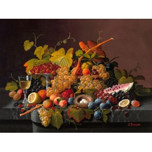 Severin Roesen - Still life with fruit and bird's nest