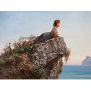 Filippo Palizzi - La fanciulla sulla roccia a Sorrento