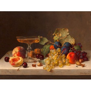 Emilie Preyer - Still life with summer fruits and champagne