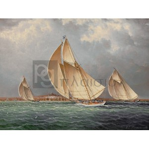 James E. Buttersworth - Yachting in Boston Harbor