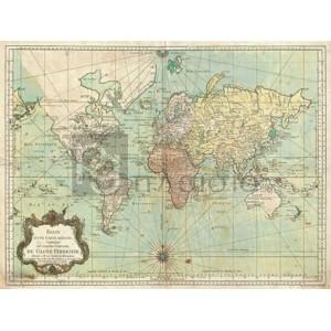 Jacques Nicolas Bellin - Essay d'une Carte reduite du Globe Terrestre, 1778