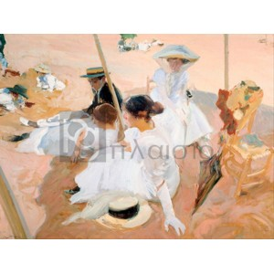 Joaquin Sorolla Y Bastida - Under the awning, on the Beach at Zarauz