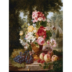 William John Wainwright - A Vase of Summer Flowers and Fruit