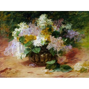 Georges Jeannin - A Still Life of Lilacs