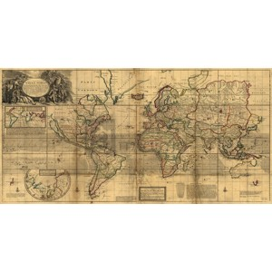 HERMAN MOLL - A New & Correct Map of the Whole World, 1719