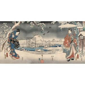 Ando Hiroshige - Snowy landscape with a woman and a man, 1853