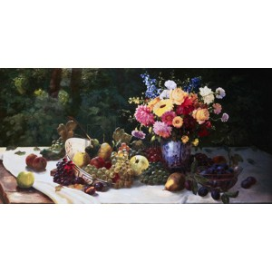 Adam Burghardt - Vase of Flowers and Fruit on a Draped Table
