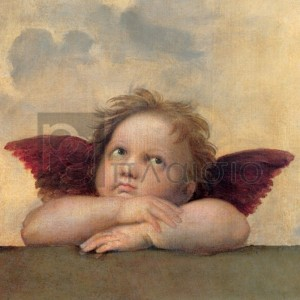 Raffaello - Angelo II - Madonna Sistina (detail)