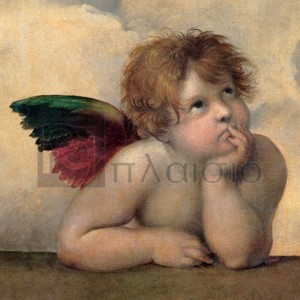 Raffaello - Angelo I - Madonna Sistina (detail)