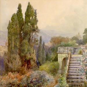 Ettore Roesler-Franz - Terrace of Villa d'Este, Tivoli, 1845