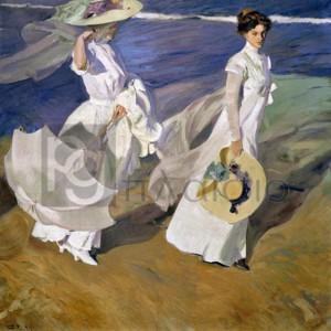 Joaquin Sorolla Y Bastida - Strolling along the Seashore