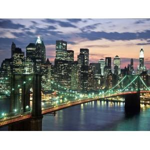 Michel Setboun - Brookyn bridge and Downtown skyline, NYC