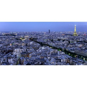 Michel Setboun - Aerial view of Paris at dusk