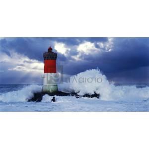 Jean Guichard - Phare des Pierres-noires lors d'une tempête