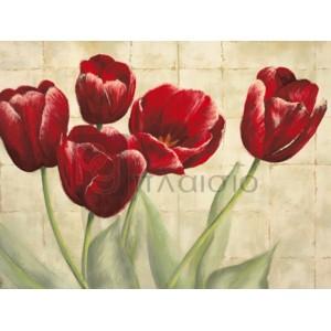 Lauren Mc Kee - Red Tulips on ivory