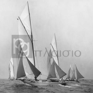 EDWIN LEVICK - Sailboats Sailing Downwind, 1920 (detail)