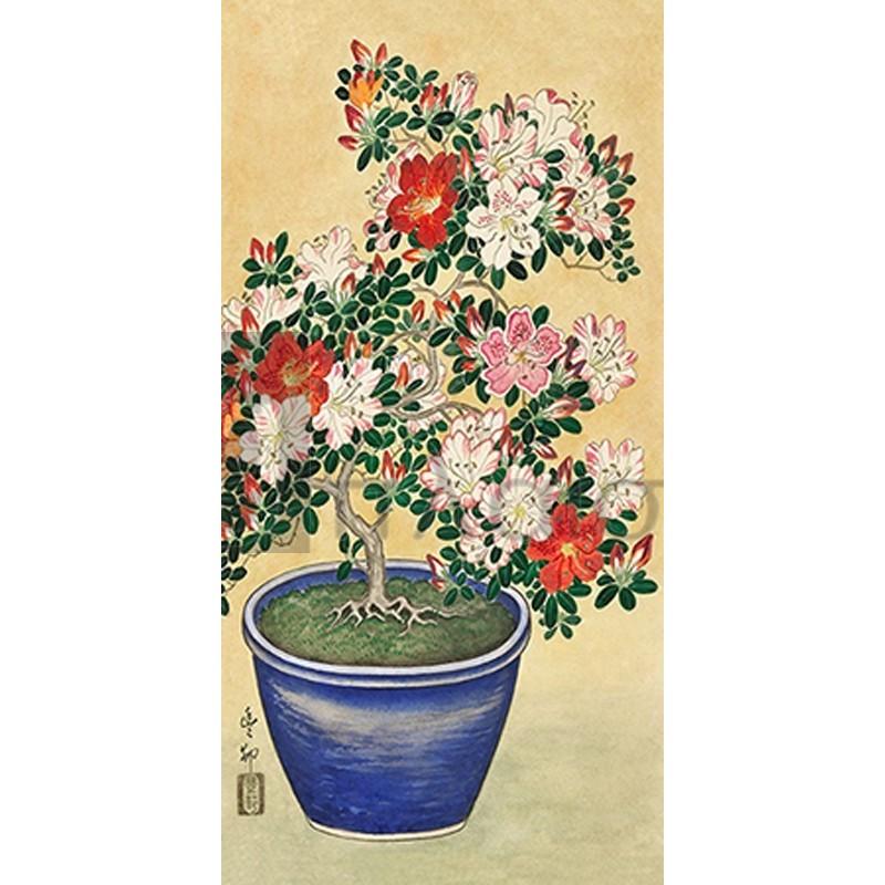 Ohara Koson - Blooming azalea in blue pot