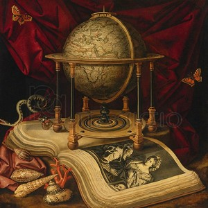 Carstian Luyckx - Still Life with Celestial Globe, a Book, Shells, a Snake and Butterflies