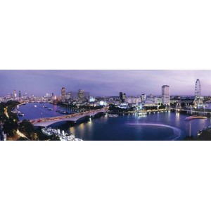 Ade Groom - View of London at night including Waterloo Bridge,London Eye, and South Bank