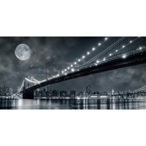 Janis Lacis - Brooklyn Bridge at night, New York