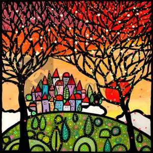 Wallas - Gli alberi guardano il paese al tramonto