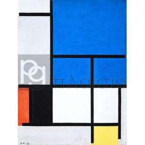 Piet Mondrian - Composition with large blue plane, red, black, yellow, and gray