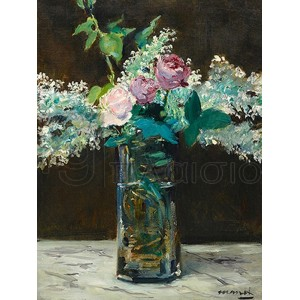 Edouard Manet - Vase of White Lilacs and Rose