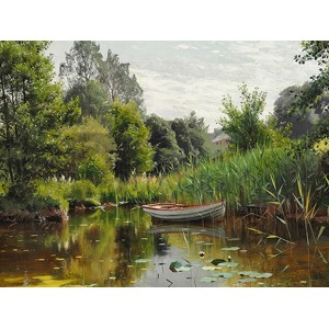 Peder Mork Monsted - A forest lake with a rowboat