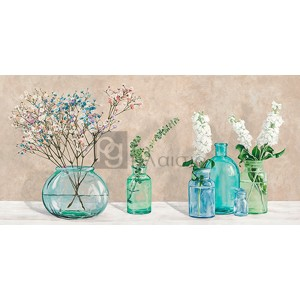 Jenny Thomlinson - Floral setting with glass vases