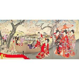 Yoshu (Hashimoto) Chikanobu - A Hanami at the Edo Castle