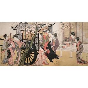 Utamaro Kitagawa - Courtesans admiring cherry blossoms
