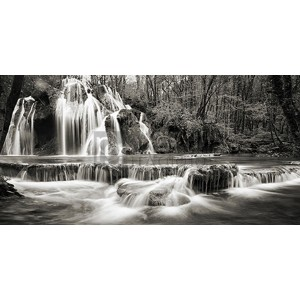Pangea Images - Waterfall in a forest (BW)