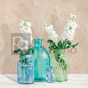 Jenny Thomlinson - Floral setting with glass vases II
