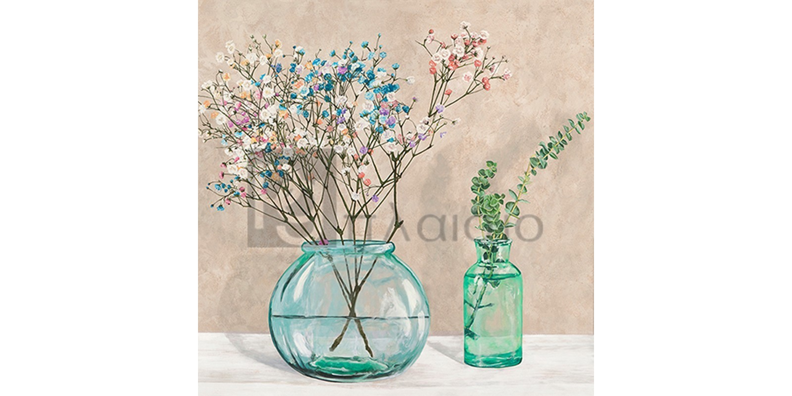 Jenny Thomlinson - Floral setting with glass vases I