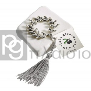 Decorative with the Olive Wreath in Marble of Thassos (Silver)