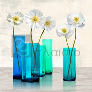 Cynthia Ann - Poppies in crystal vases (Aqua I)