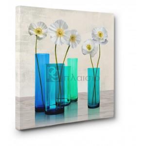 Cynthia Ann - Poppies in crystal vases (Aqua I)