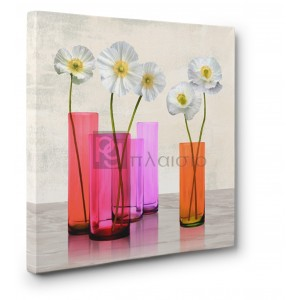 Cynthia Ann - Poppies in crystal vases (Purple I)