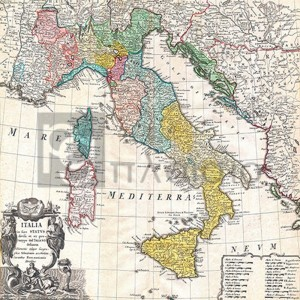 Johann Homann - Map of Italy, 1742